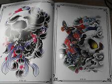 Diseños de Tatuajes Flash Libro a4 tamaño JAP mezcla Dragones Koi Calaveras y aves muy agradable