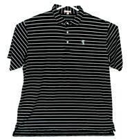 Mens Peter Millar Summer Comfort Golf Blue Black Striped Polo Shirt XXL