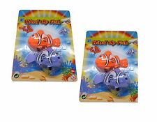 WINDUP CLOCKWORK TOY Tail Swing Clown Fish Kids Fun Toy Party Bag Filler X2