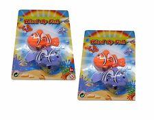 2 x 2pc Wind Up Clockwork Tail Swing Clown Fish Kids Fun Toy Party Bag Filler
