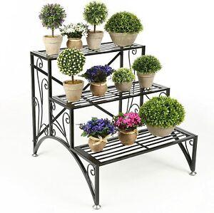3 Tier Scrollwork Black Planter Rack, Step Style Folding Plant Pot Shelf Stand