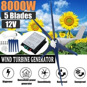 8000W Max Power 5 Blades DC 12V Wind Turbine Generator Kit w/ Charge Controller