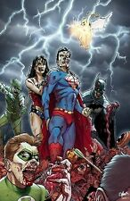 DC ZOMBIES LITHO Print SGN Batman Superman Wonder Woman   New