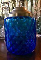 Beautiful Vintage Blue Honeycomb Optic Art Glass Dresser Jar w/ lid