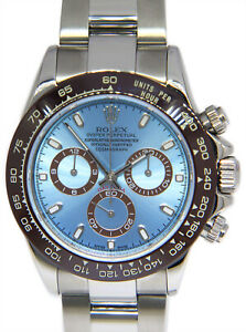 Rolex Daytona Chronograph Steel Blue Dial Brown Ceramic Bezel Mens Watch 116520