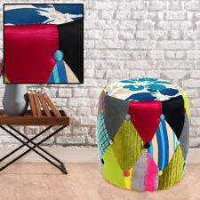 Deko Patchwork Fuß Sitz Hocker Kissen Design Box Bar Stuhl RETRO Textil 150 KG
