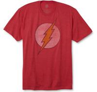 DC Comics Men's Red The Flash Distressed Logo Short Sleeve T-Shirt