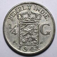 1941 Netherlands East Indies One Forth 1/4 Gulden - Wilhelmina - Lot 687