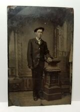 Tintype tall, skinny young man c.1870s, original photo; antique, old