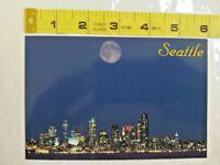 Seattle Washington Skyline at Night Moon Buildings Postcard ~ Ships FREE