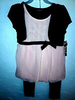 GEORGE -Youth Girls Size M & L Premium PINK or RED and BLACK With Pants Dress