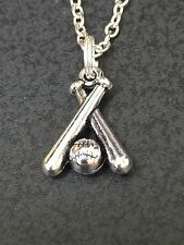 "Baseball Bats & Ball Charm Tibetan Silver with 18"" Necklace"