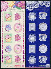 Japan 2017 MNH Greetings Flowers in Daily Life 2x 10v S/A M/S Lace Design Stamps