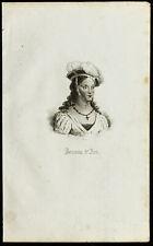 Portrait de Jeanne d'Arc. Gravure ancienne. Pucelle d'Orléans.