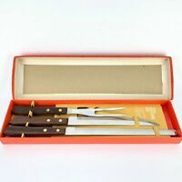 Vintage 3 Piece Carving Knife Set Wood Handle Stainless Steel JAPAN Box EXCE