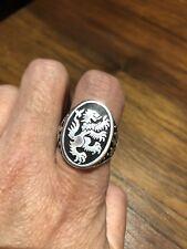 1980's Vintage Size 11 Lion Crest Silver White Bronze Enamel Ring