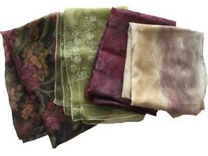 """LOT 4 long fashion scarves purple green floral polyester 24 to 34"""" neck"""