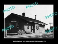 OLD LARGE HISTORIC PHOTO OF HAWARDEN IOWA,THE RAILROAD DEPOT STATION c1920