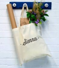Personalised Name Tote Bag Dot Canvas Cotton Shopper Shopping