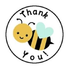 "48 THANK YOU BEE  ENVELOPE SEALS LABELS STICKERS 1.2"" ROUND"