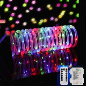 Battery 10M/100 LED Outdoor RGB Tube Rope Strip String Light Lamp Home Garden