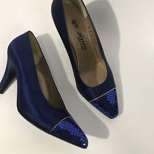 St. Johns Royal Blue Silk Women's High Heel Evening Shoes Pumps Size 7B Italy