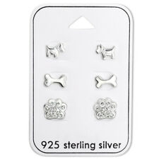 925 Sterling Silver Crystal Paw Print Dog Bone Dog Puppy Gift Set Stud Earrings