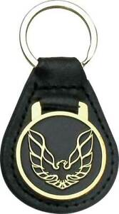 Leather Keychain Ring With Gold Wings Up Bird Pontiac Firebird and Trans AM