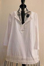 326  Ralph Lauren White Cotton Knit Long Sleeve Peasant Blouse Top M Lace Trim