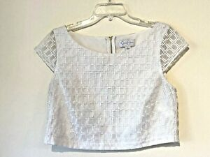 Jessica Simpson Womens White Cap Sleeve Zipper Back Crop Top Size Large