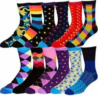 Boy's Dress Socks Patterned Funky Fun Colorful Socks 12 Assorted Pairs Size 3-9