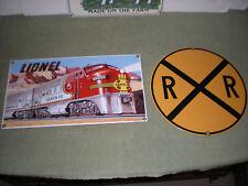 2 Ande Rooney,Lionel Santa Fe Railroad/R&R Crossing porcelain signs (exc cond)
