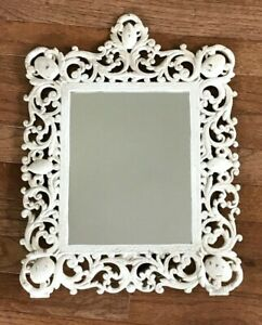 """Antique Ornate Cast Iron Self-Standing Mirror Painted Frame 17 1/2"""" by 13 1/2"""""""