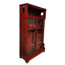 Antique Red Maple Eastlake Victorian Farmhouse Etagere Glass Door Bookcase