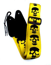 SKULL Design Polyester Electric, Acoustic, Bass Guitar Strap Yellow & Black UK