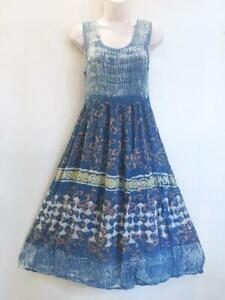 Sacred Threads Hippie Boho Festival Tie Dye Batik Block Print Dress 219300