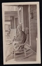 Antique Vintage Photograph Older Woman Sitting in Rocking Chair on Porch