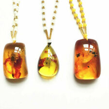 Natural Amber Contain Insect Scorpion Beetle Spider Pendant Necklace Gift Random