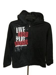 "Youth Large Under Armour Full Zip Hoodie ""Live Hard Play Harder"" YLG"