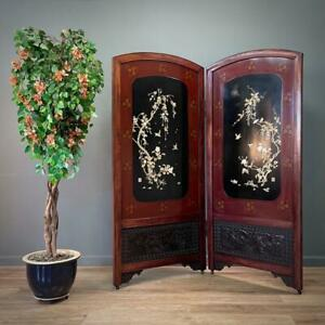 Attractive Large Two Fold Carved & Lacquered Oriental Screen Room Divider