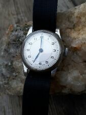 mens vintage 1940's chrome case fixed lugs military style watch blued steel hand