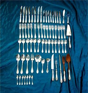 Northumbria Normandy Rose Sterling Silver flatware for 8 - 68 pc 2072 gr.