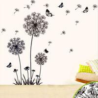 Dandelion Flower Butterfly Tree Wall Art Stickers / Wall Decals / Wall ArtBlack