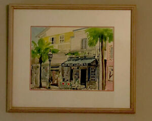 Gary Calabro Artist W/C Key West Cookie Company Signed 1989 Framed And Matted