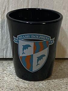 Vintage NFL Miami Dolphins Shot Glass - Shield Logo - Black Glass - Super Rare