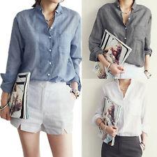 Casual Blouse New Women's Button-down Shirts Long Sleeve Linen Tops Hot