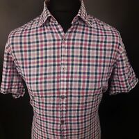 HUGO BOSS Mens Casual Shirt LARGE Short Sleeve Pink Regular Fit Check Cotton