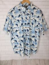 Cafe Luna Mens Short Sleeve Shark Print  Button Up Shirt Cotton Size XL (46/48)
