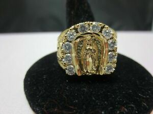 SIZE 9, 14 KT GOLD PLATED MENS LUCKY RELIGIOUS VIRGIN MARY CLEAR CZ RING