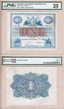 Rare 1910 £1 Union Bank of Scotland Large Issued Note. PMG Certified VF25